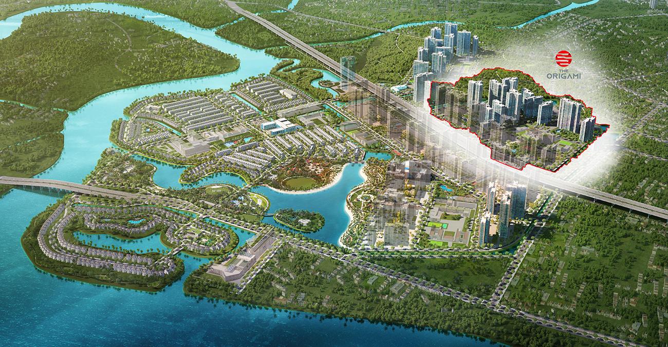 Phối cảnh tổng thể căn hộ chung cư phân khu The Origami dự án Vinhomes Grand Park Quận 9 chủ đầu tư Vingroup