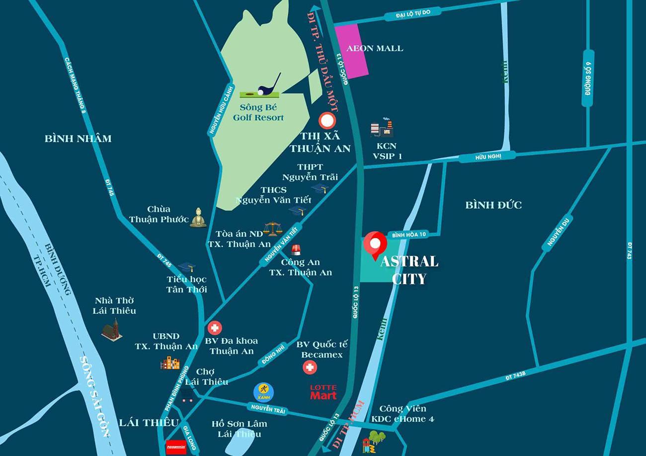 Vị trí địa chỉ dự án căn hộ chung cư Astral City Thuận An Bình Dương