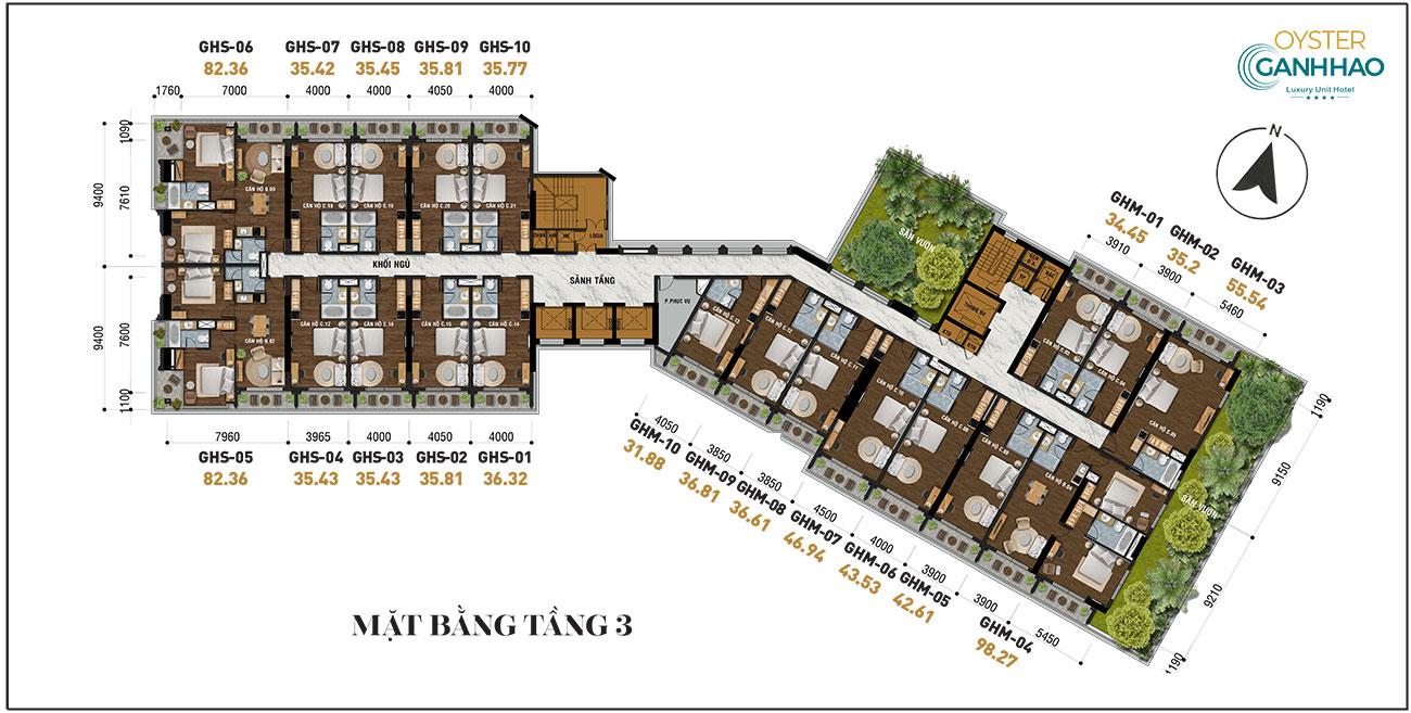 Mặt bằng dự án căn hộ condotel Oyster Gành Hào đường Trần Phú Vũng Tàu