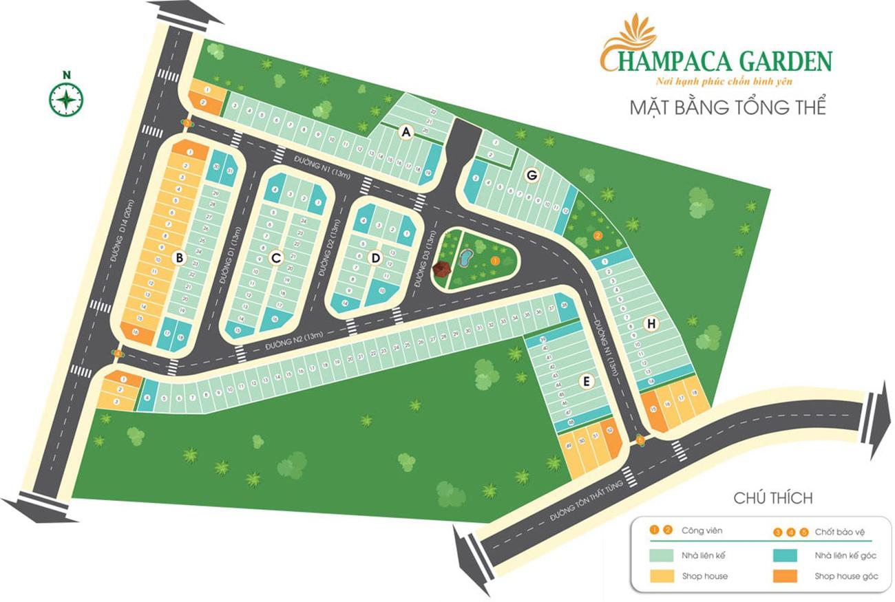 Mặt bằng dự án nhà phố chung cư Champaca Garden Dĩ An Bình Dương
