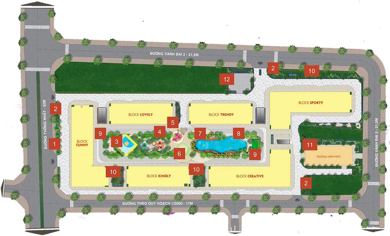 Mặt bằng thiết kế dự án căn hộ chung cư New Galaxy Dĩ An Bình Dương chủ đầu tư Hưng Thịnh