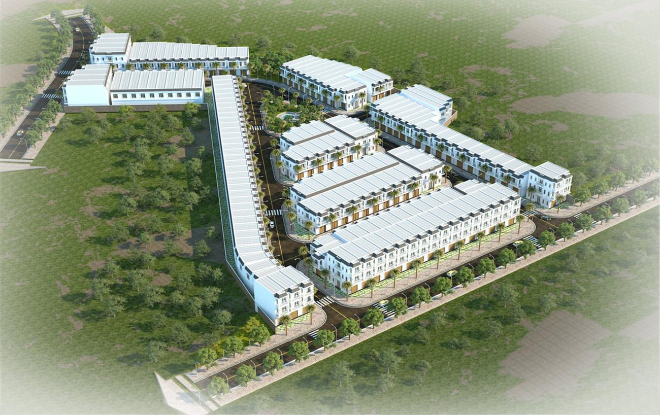 Phối cảnh tổng thể dự án nhà phố chung cư Champaca Garden Dĩ An Bình Dương