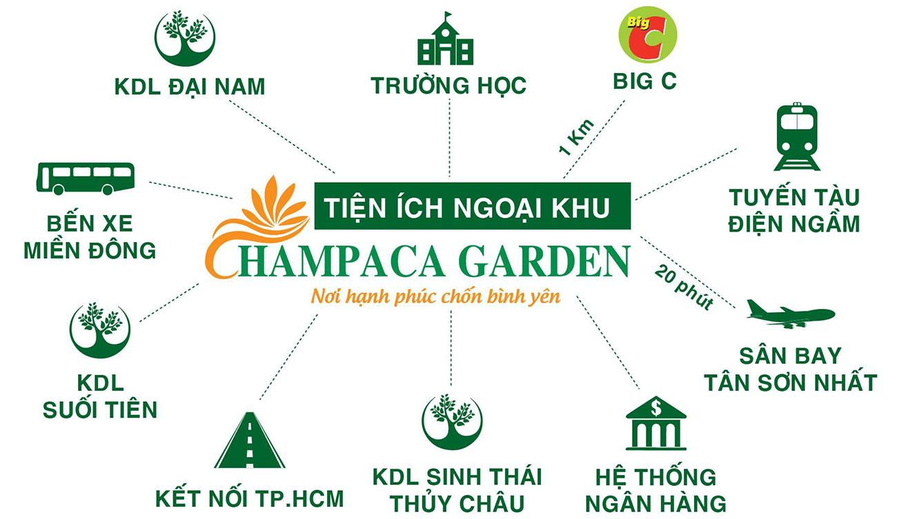 Tiện ích ngoại khu dự án nhà phố chung cư Champaca Garden Dĩ An Bình Dương