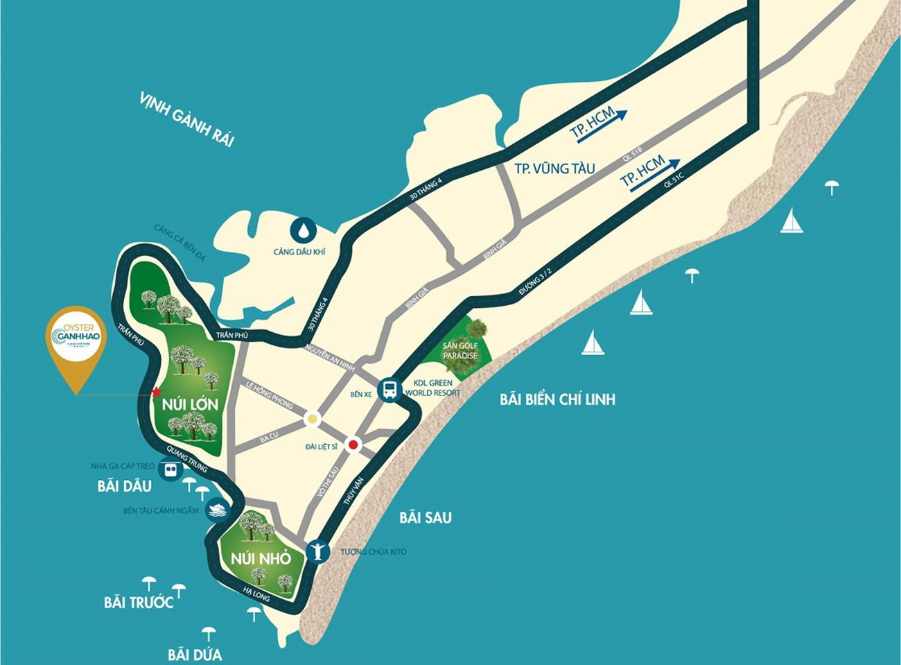 Vị trí địa chỉ dự án căn hộ condotel Oyster Gành Hào đường Trần Phú Vũng Tàu