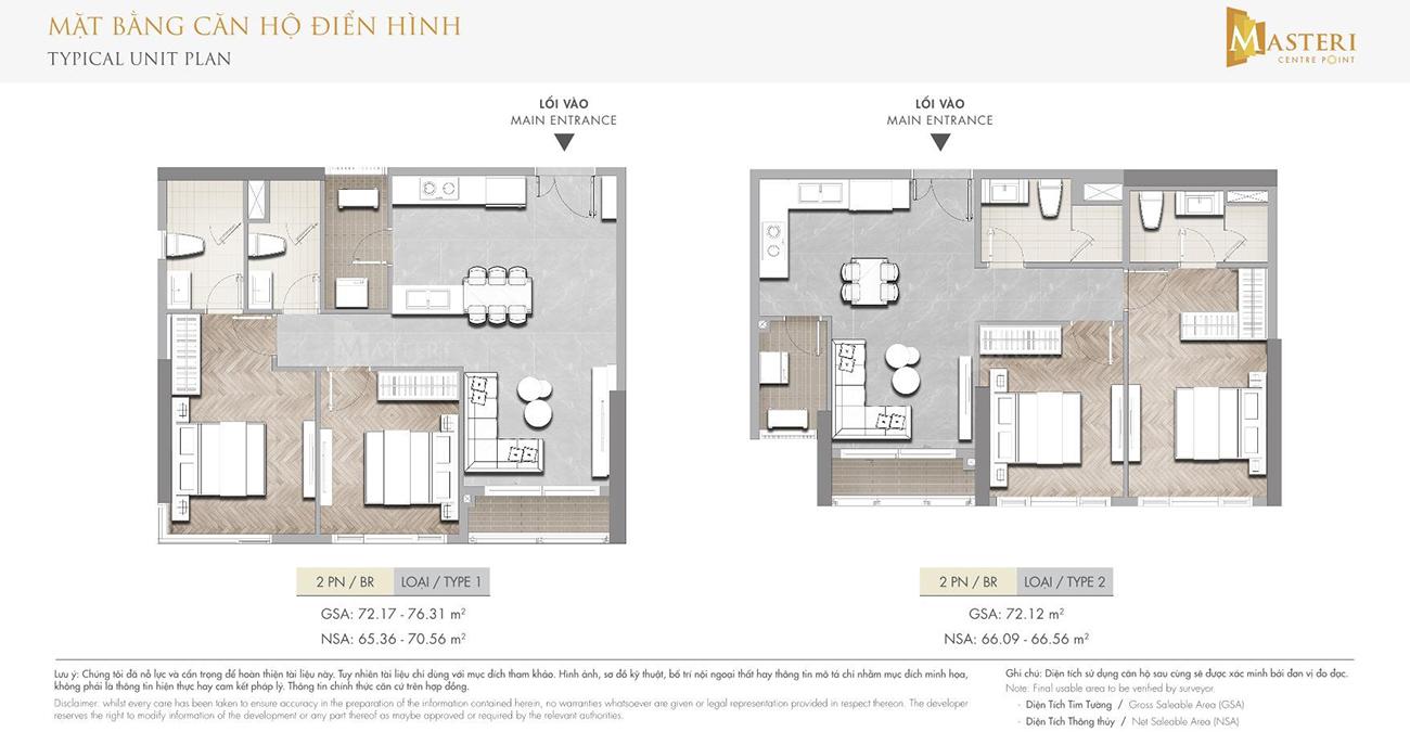 Thiết kế chi tiết căn hộ 02 phòng ngủ dự án Masteri Centre Point Quận 9 chủ đầu tư Masterise Homes