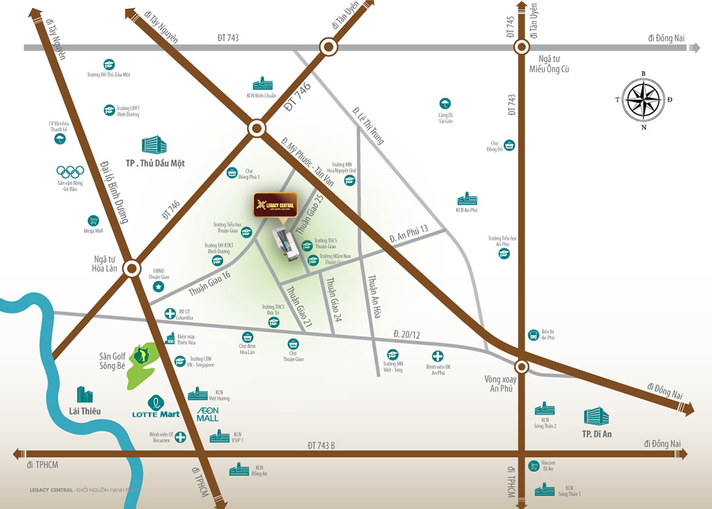 Vị trí địa chỉ dự án căn hộ chung cư Legacy Central Bình Dương chủ đầu tư Kim Oanh Group