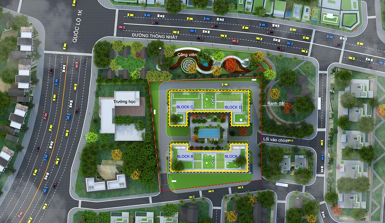 Mặt bằng dự án căn hộ chung cư Bcons Plaza Bình Dương