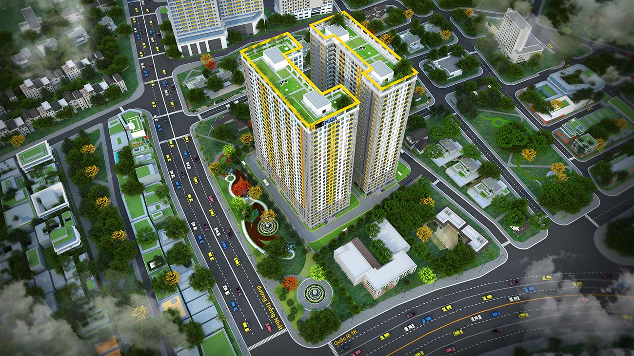 Phối cảnh tổng thể dự án căn hộ chung cư Bcons Plaza Bình Dương