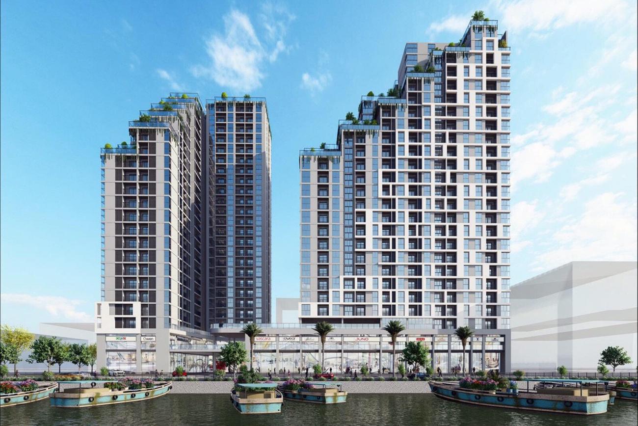 Phối cảnh tổng thể dự án căn hộ chung cư D Aqua Bến Bình Đông Quận 8 Quận 8