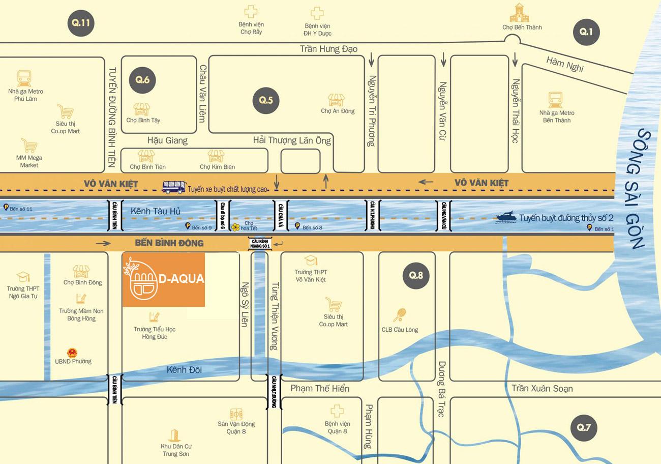Vị trí địa chỉ dự án căn hộ chung cư D Aqua Bến Bình Đông Quận 8