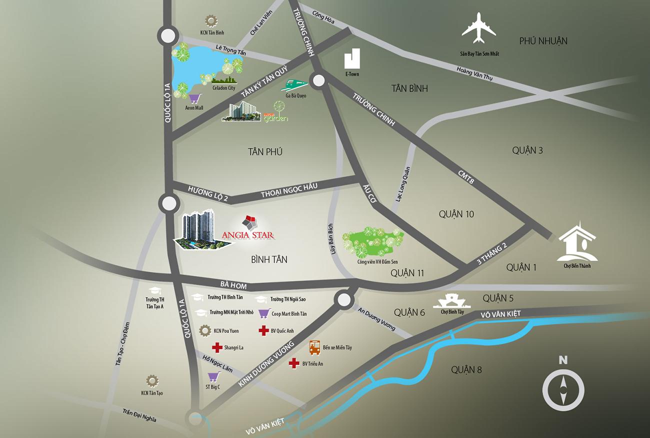 Vị trí địa chỉ dự án căn hộ chung cư The Star Bình Tân