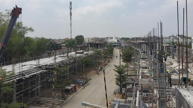 Tiến độ xây dựng dự án nhà phố The Standard Central Park Bình Dương tháng 03.2021