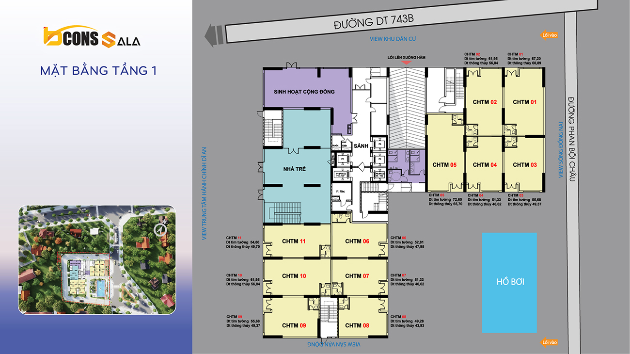 Mặt bằng dự án căn hộ chung cư Bcons Sala Bình Dương