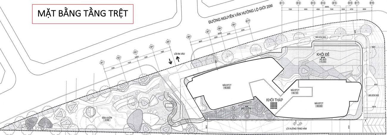 Mặt bằng dự án căn hộ chung cư Thảo Điền Green Quận 2 đường Nguyễn Văn Hưởng