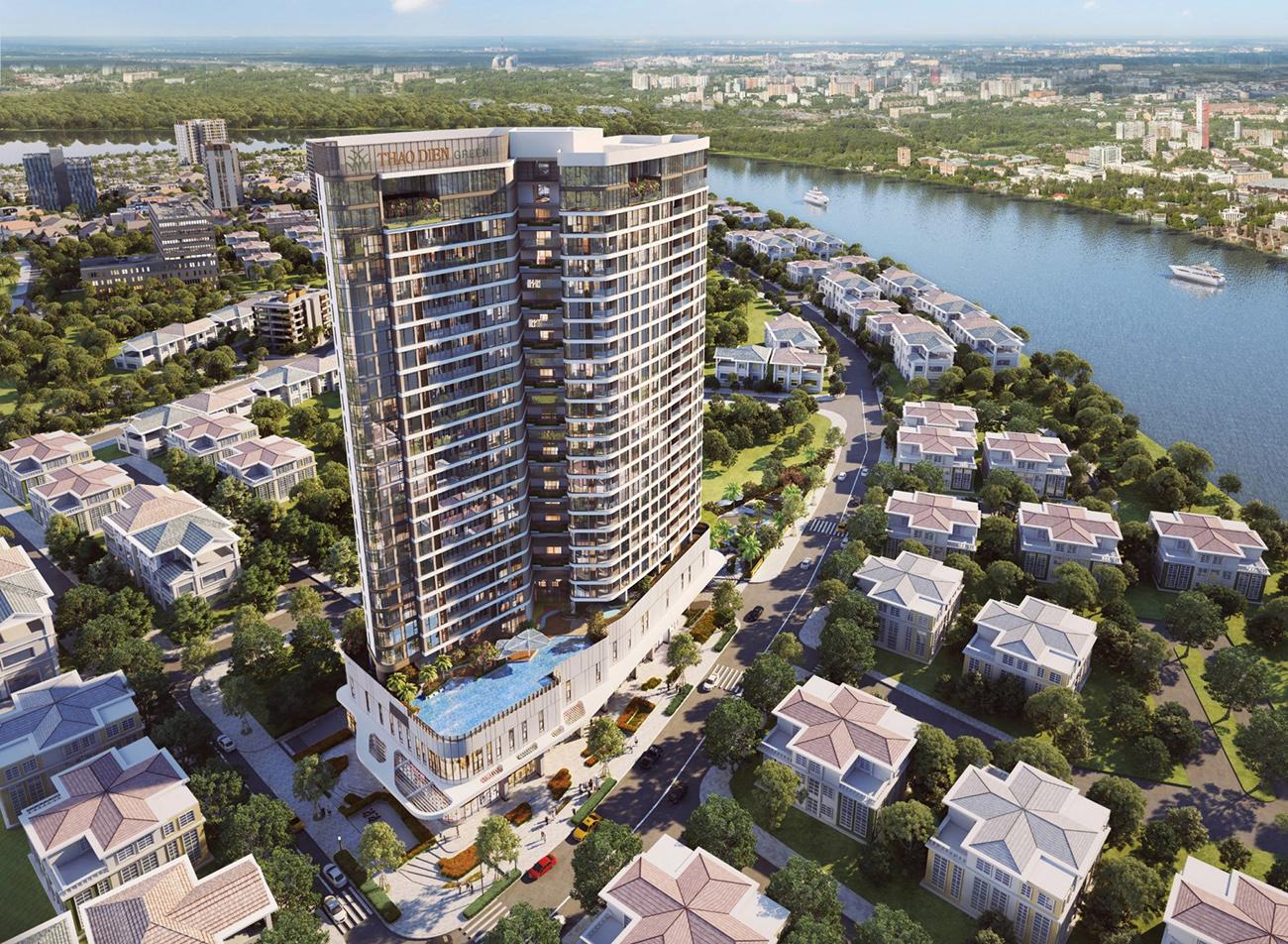 Phối cảnh tổng thể dự án căn hộ chung cư Thảo Điền Green Quận 2 đường Nguyễn Văn Hưởng