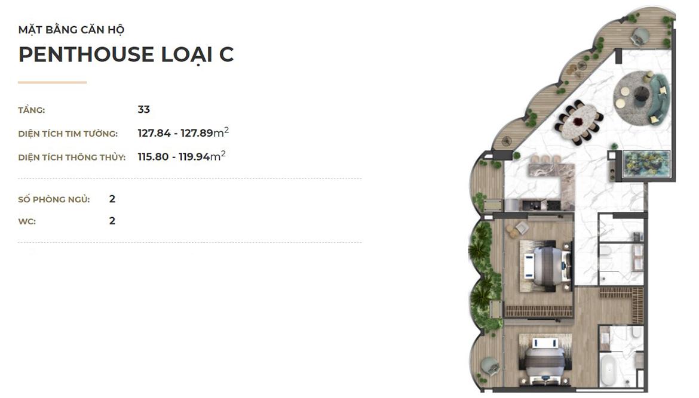 Thiết kế penthouse dự án căn hộ chung cư Asiana Đà Nẵng chủ đầu tư Gotec Land