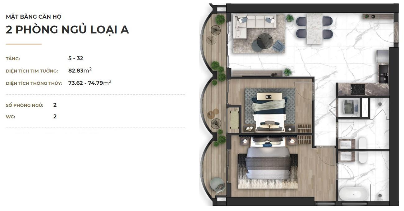 Thiết kế dự án căn hộ chung cư Asiana Đà Nẵng chủ đầu tư Gotec Land loại 02 phòng ngủ