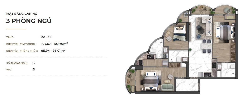 Thiết kế dự án căn hộ chung cư Asiana Đà Nẵng chủ đầu tư Gotec Land loại 03 phòng ngủ