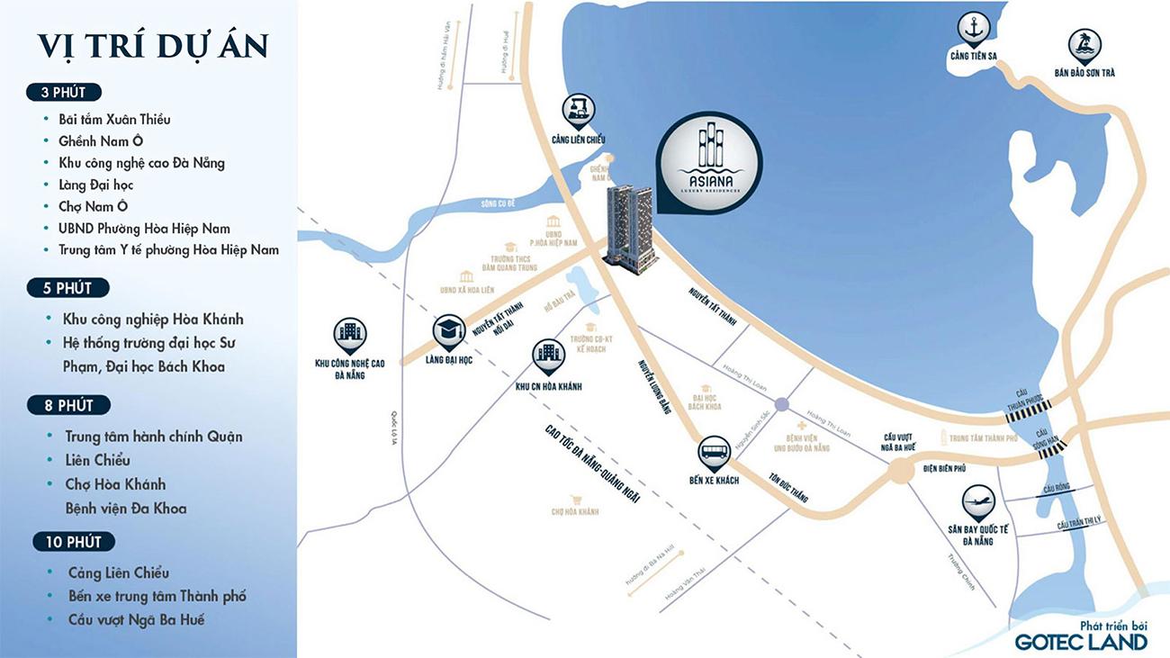 Vị trí địa chỉ dự án căn hộ chung cư Asiana Đà Nẵng chủ đầu tư Gotec Land