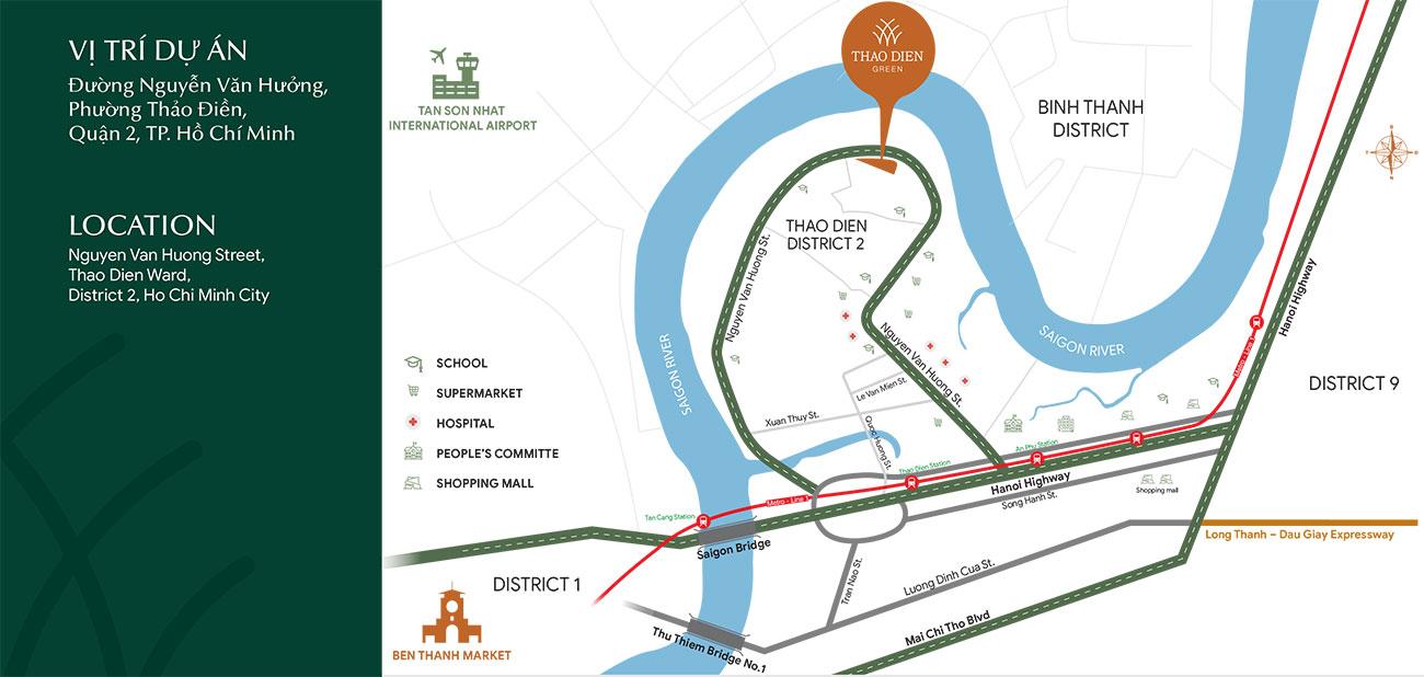 Vị trí địa chỉ dự án căn hộ chung cư Thảo Điền Green Quận 2 đường Nguyễn Văn Hưởng